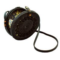 Shoulder bag, rattan, round, faux leather strap, black