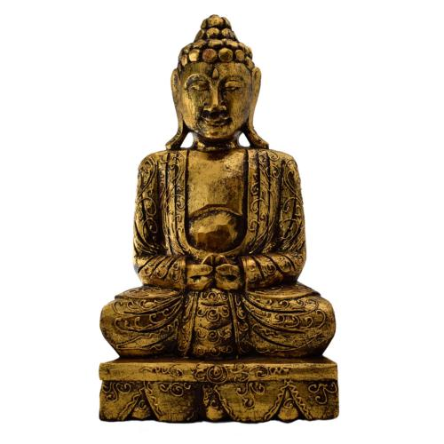 Buddha carved wood, gold colour 41cm height