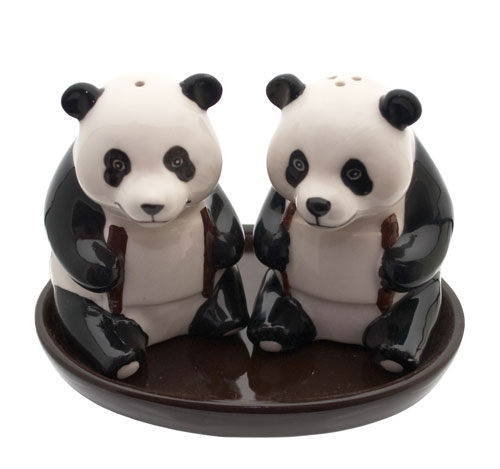 Salt & pepper panda on tray **