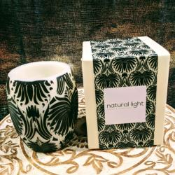 Candle lotus flower black + white, 10cm hurricane