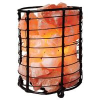 Salt lamp with salt chips in metal cylinder approx 19x13cm **