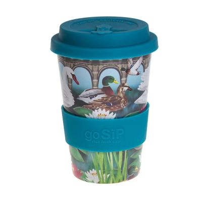 Rice husk cup 14oz,  lily pond and waterfowl