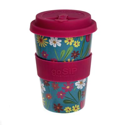 Rice husk cup 14oz, folk florals turquoise
