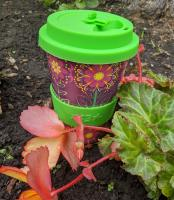 Reusable travel cup, biodegradable, folk florals maroon