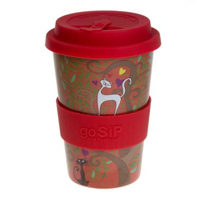 Rice husk cup 14oz, tree of life - cats in love