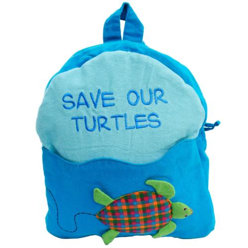 Child's backback blue, save our turtles