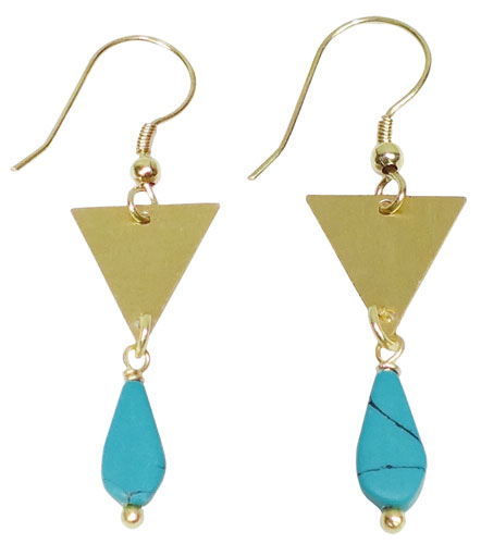 Earrings triangle with turquoise bead