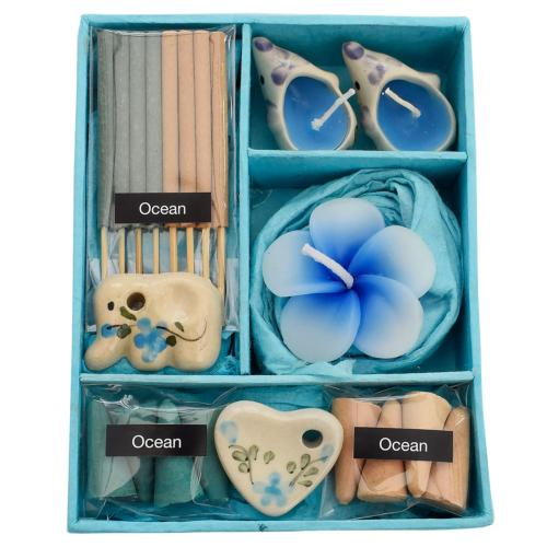Incense and candle gift set, blue box