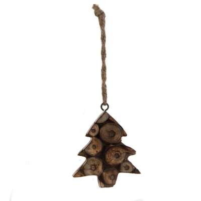 Hanging Christmas tree, decorative wood twig slices