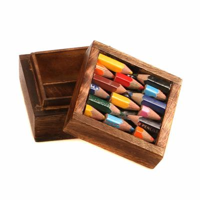 Box - wood and recycled crayons 6x6x4cm