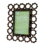 "Photo frame, recycled bike chain, 4x6"" photo"