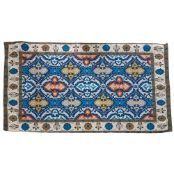 Rug indoor or outdoor, recycled plastic 60 x 100cm cream border