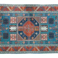 Rug indoor or outdoor, recycled plastic 90 x 150cm blue border
