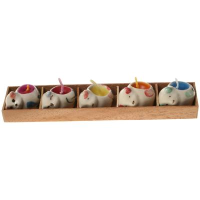Pack of 5 mini candles in cat shaped holders