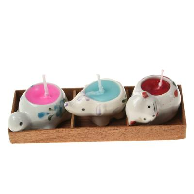 Pack of 3 candles in animal holders