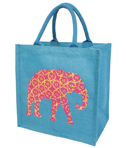 Jute shopping bag, blue with floral elephant