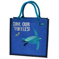 Jute shopping bag, save our turtles