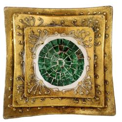 Set of 3 gold coloured plates, green mosaic