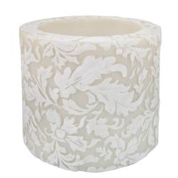 Candle damask leaf white + ivory, 10cm recessed