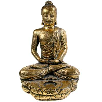 Buddha sandstone cast with t-lite holder, gold colour 32cm