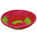 Raffia fruit basket, fuschia base, 30cm