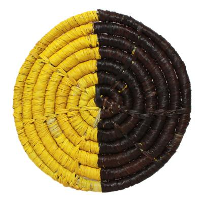 Raffia coaster, lemon and brown, 9cm