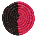 Raffia coaster, fuschia and brown, 9cm