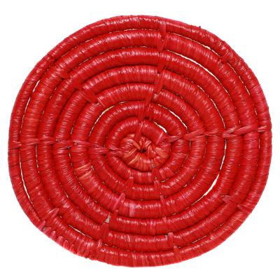 Raffia coaster, red, 9cm