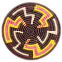Raffia placemat, dark brown base, 30cm