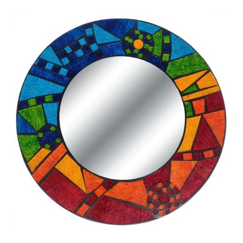 Mirror round with mosaic surround 50cm rainbow