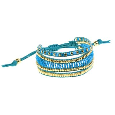 Bracelet, 3 beaded strands, turquoise and gold coloured