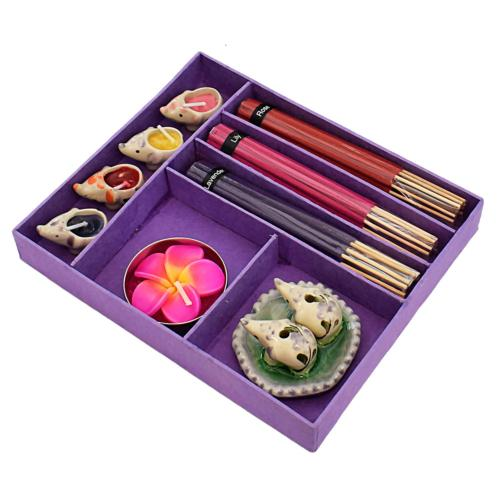 Incense and candle gift set, purple