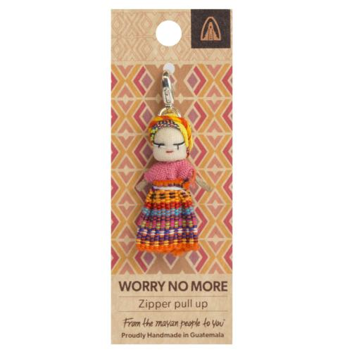 Worry doll, zipper pull up