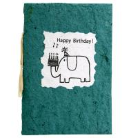Birthday card, elephant, green