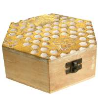 Hexagonal jewellery/trinket box, mango wood honeycomb