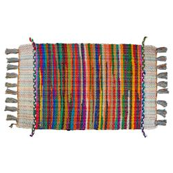Rag rug, multicoloured centre with tassels