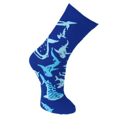 Bamboo socks, sharks blue, Shoe size: UK 3-7, Euro 36-41