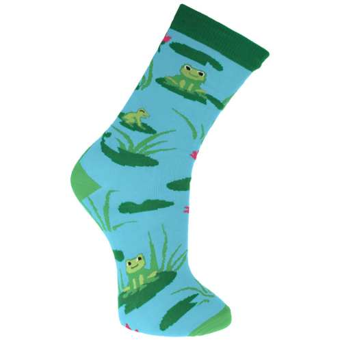 Bamboo socks, frogs, Shoe size: UK 3-7, Euro 36-41