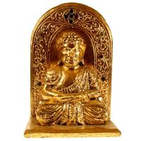 Buddha with wall carved wood gold colour