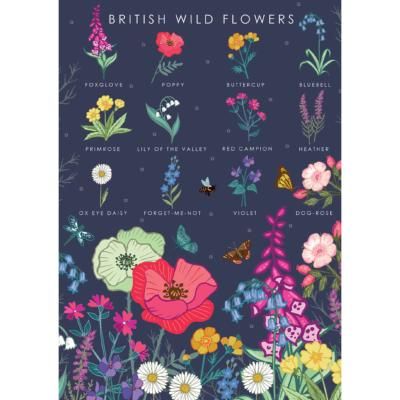 "Greetings card ""British wild flowers"" 12x17cm"