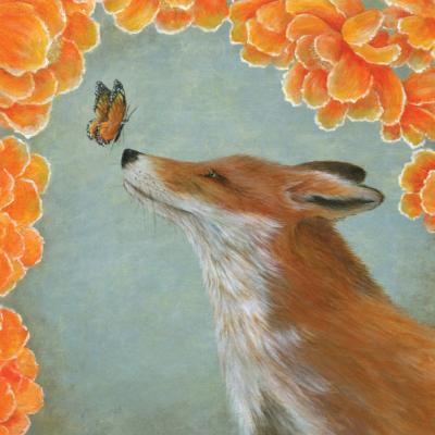 "Greetings card ""Fox and the Butterfly"" 16x16cm"