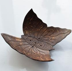 Coconut incense holder butterfly