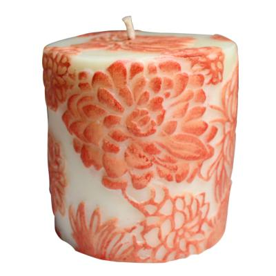 Candle Japanese chrysanthemum ombre + white, 7.5cm flat