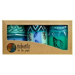 3 hand painted candles in gift box, Samaki