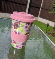 Reusable travel cup, biodegradable, tortoiseshells & pink flowers