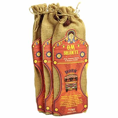 Incense and holder in jute bag Om Shanti **