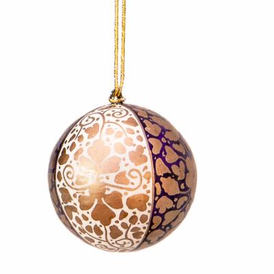 Bauble, painted leaves gold purple cream, 6cm