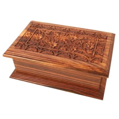 Wooden jewellery box with mirror