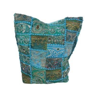 Cross body bag recycled sari turquoise