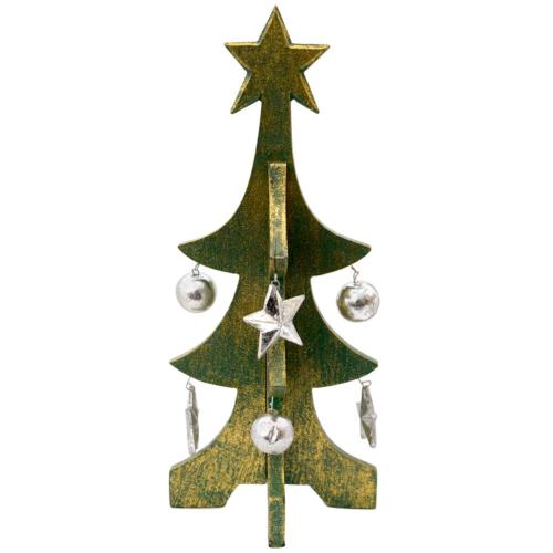 Christmas tree, wood with stars and baubles, green 30cm